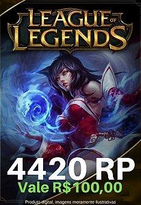 Cartão Presente League Of Legends 4420 RP - LOL Riot Points