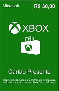 Cartão Presente Xbox Live R$30 Reais - Microsoft Gift Card
