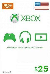 Cartão Presente Xbox Live $25 Dólares - Microsoft Gift Card