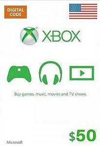 Cartão Presente Xbox Live $50 Dólares - Microsoft Gift Card