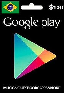 Cartão Google Play R$100 Reais - Play Store Gift Card Brasil