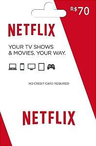 Cartão Presente Netflix R$70 Reais - Cartão Pré-Pago Netflix