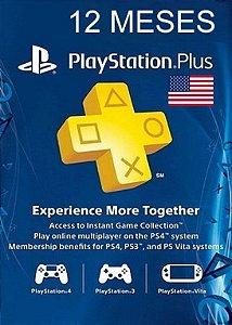 Playstation Network Plus Assinatura - 12 Meses Cartão de Ativação PSN Plus - USA 12 Meses (EUA)