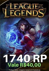 Cartão Presente League Of Legends 1740 RP - LOL Riot Points