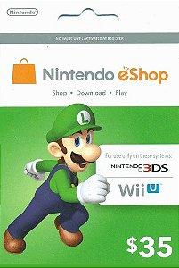 Cartão Nintendo eShop $35 Dólares - 3DS/Wii-U Eshop Cash Card