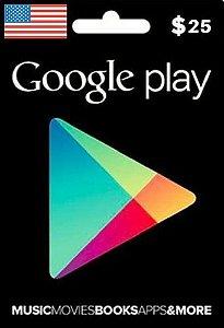 Cartão Google Play $25 Dólares - Play Store Gift Card USA