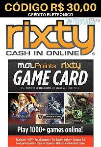 Cartão Rixty Pré-Pago R$30,00 - Rixty Prepaid Game Card