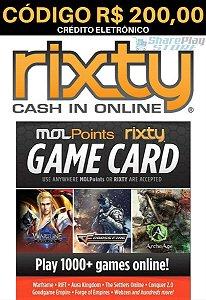 Cartão Rixty Pré-Pago R$200,00 - Rixty Prepaid Game Card