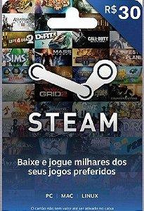 Steam Cartão Pré Pago R$30 Reais - Steam Gift Card