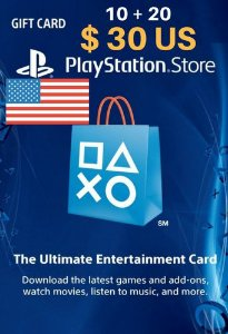 Cartão PSN Store Americana $30 Dólares - Playstation Network Card