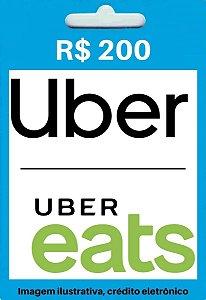 Cartão Uber Cash: Crédito Para Uber e Uber Eats - Saldo de R$200