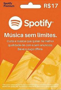 Cartão Presente Spotify Premium R$17 Reais - 1 Mês