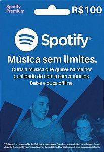 Cartão Presente Spotify Premium R$100 Reais - 6 meses
