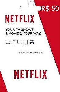 Cartão Presente Netflix R$50 Reais - Cartão Pré-Pago Netflix
