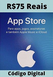Cartão Itunes Apple Gift Card R$75 Reais - App Store Brasil
