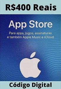 Cartão Itunes Apple Gift Card R$400 Reais - App Store Brasil