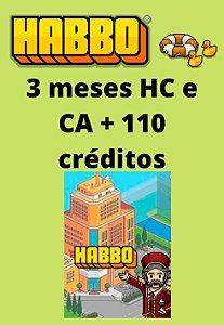 Habbo Hotel - 3 meses HC e CA + 110 créditos
