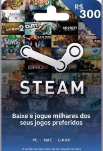 Steam Cartão Pré Pago R$300 Reais - Steam Gift Card