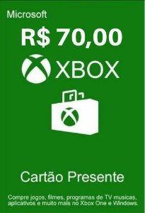 Cartão Presente Xbox Live R$70 Reais - Microsoft Gift Card