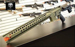 Rifle de Airsoft Calibre 6mm Elétrico Modelo Krytac LVOA Cor FDE Areia