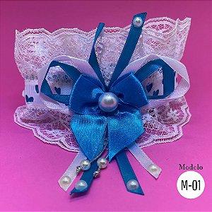 Coleira Glamu Pet Azul com Detalhes em Renda e Pedraria