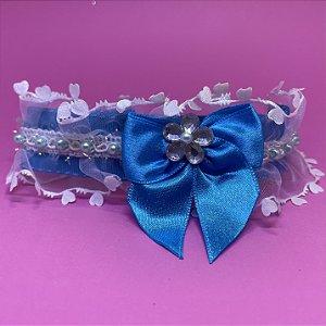 Coleira Glamu Pet Azul com Detalhes em Renda Corações e Pérolas