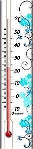 Termômetro Ambiente com Base em Madeira FLORES AZUIS Incoterm  TA 229.02.1.06