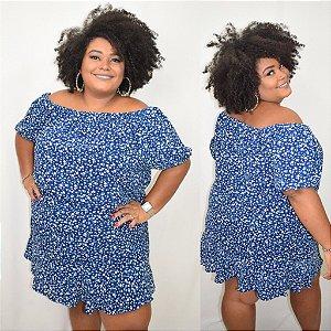 Vestido Ciganinha Azul estampado