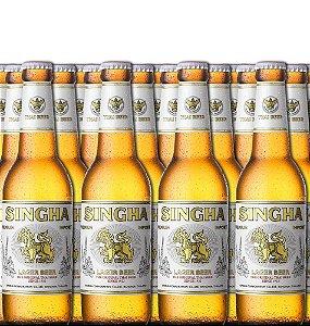 Cerveja tailandesa Singha Lager 330 ml caixa com 24 garrafas
