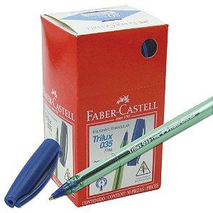 Caneta Esferográfica Ponta Fina Trilux Azul  Com 50 Unidades Faber Castell 34FCPF/25AZZF