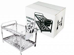 Escorredor de Louça Polido Montado Para 16 Pratos Com Porta Talher em Plastico R.MEPP-01 Dinox