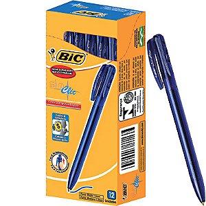 Caneta Retratil 1.0 Slim Clic Azul Com 12 Unidades Bic