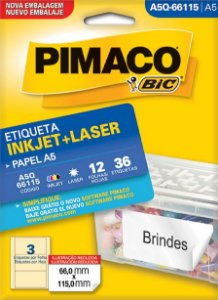 Etiqueta Inkjet/Laser A5Q-66115 Pimaco