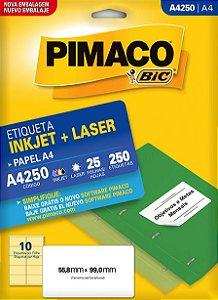 Etiqueta A4 Inkjet /Laser A4250 Pimaco