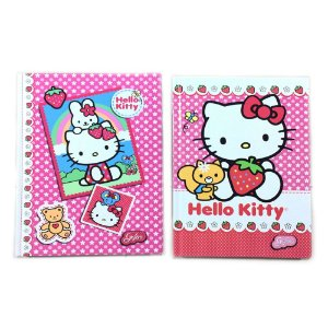 Caderno Brochura 1/4  Hello Kitty Capa Dura 96 Folhas Com 2 Unidades Grafons