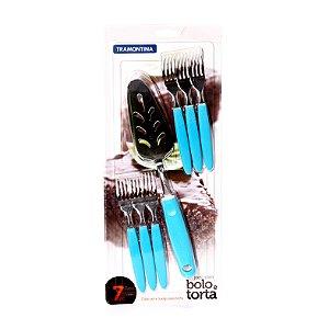 Jogo de Talheres de Sobremesa Azul Celeste 7 Peças Tramontina 23399/157