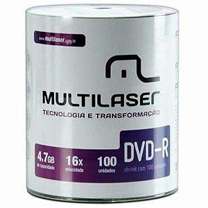 DVD-R Gravável Com 100 Unidades DV100CP Multilaser