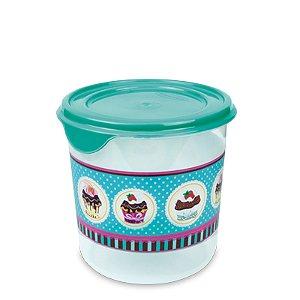 Pote Redondo Decorado Cup Cake 900ml R.541CK Plasvale