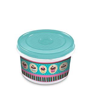 Pote Redondo Decorado Cup Cake 600ml R.623CK Plasvale