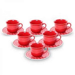 Conjunto De Xicaras Cafe Floreal Renda R.J590-640414 Oxford