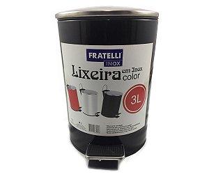 Lixeira Com Pedal Shape Preta 3 Litros R.632880/PT Fratelli