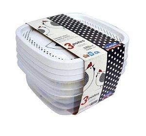 Conjunto Potes Decora Quadrado 580ml 3 Peças R.6564 Plasutil