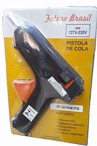 Pistola Para Cola Quente Bivolt 40w Bastão Grosso PT103 Futuro Brasil
