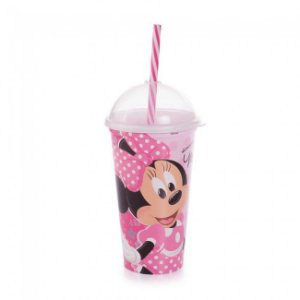Copo Shake Minnie Com Canudo 500ml R.8252 Plasutil