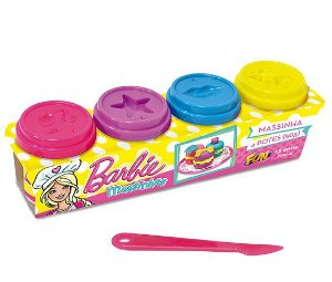 Massinha Barbie 4 Potes 50g 7294-4 Fun