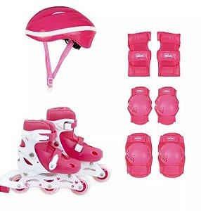 Kit Roller Rosa Com Joelheira Cotoveleira e Capacete Tamanho (31-34) R.40600101 Mor