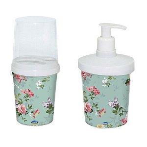 Kit Para Banheiro Com Porta Sabão e Porta Escova Decora Floral Plasutil