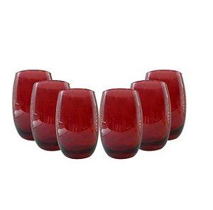 Jogo de Copos 6 Peças Bellize Long Drink 450ml R.885-23 Vermelho Cisper