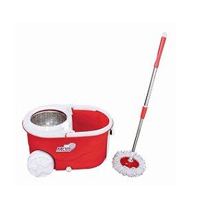 Balde Mop Centrifuga Inox Com Rodas Esfregão e Refil Vermelho R.837606 Art House