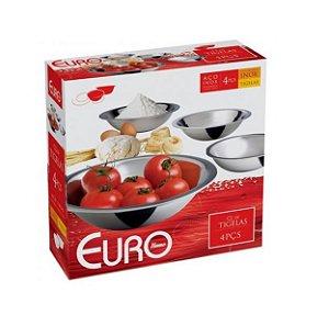 Conjunto de Tigelas Rasas Inox 4 Peças IN9024 Euro Home